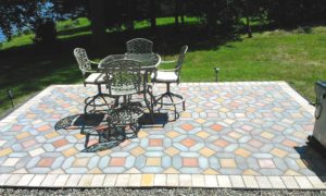 Photo of a tiled patio is the focus for entertaining.