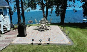 A photo of the view across the lake from the patio.